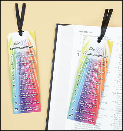Ten Commandments Bookmark with Ribbon