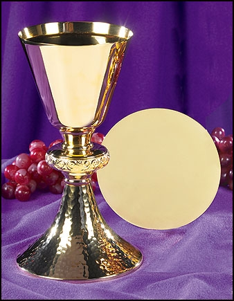 Ornate Node Chalice with Hammered Base and Paten