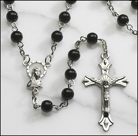 Black Round Pressed Glass Rosary - 12/pk