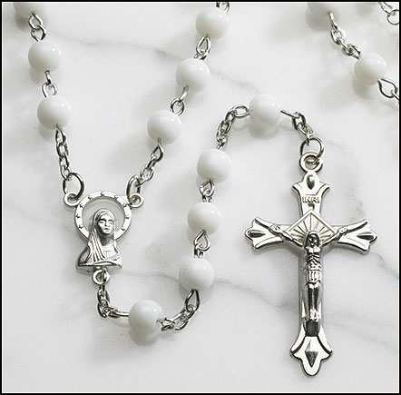 White Round Pressed Glass Rosary - 12/pk