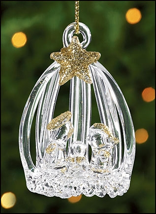 Spun Glass Open Slat Nativity Ornament - 12/pk