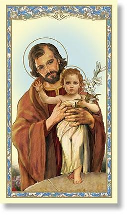 St. Joseph with Child Holy Card (Memorare to St. Joseph) - 100/pk