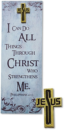 I Can Do All Things Lapel Pin with Bookmark - 12/pk