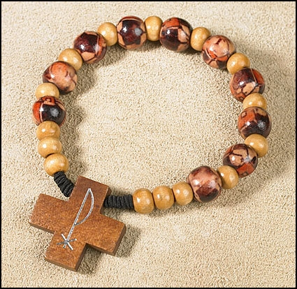 Chi Rho Cross with Painted Beads Rosary Bracelet - 24/pk