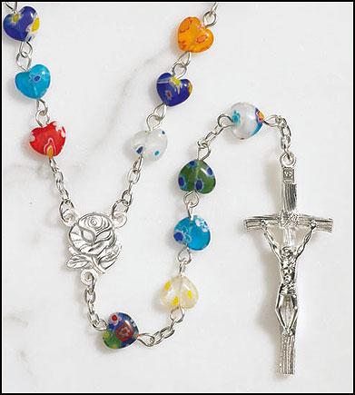 Multi-Color Heart Rosary