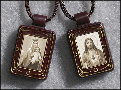 Sepia Tone Sacred Heart/Our Lady of Mt. Carmel Moulded Scapular - 12/pk