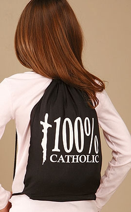 100% Catholic Drawstring Backpack - 12/PK