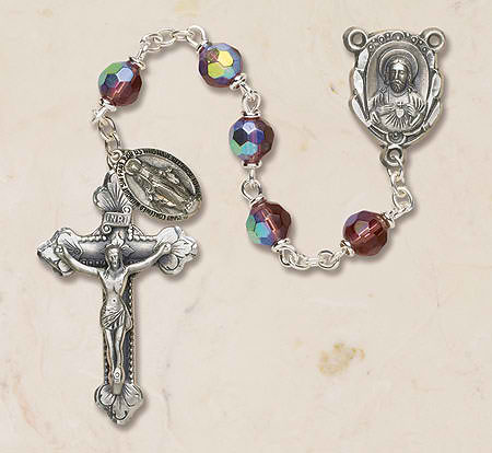 Prague Collection 6 mm AB Crystal Rosary - Amethyst