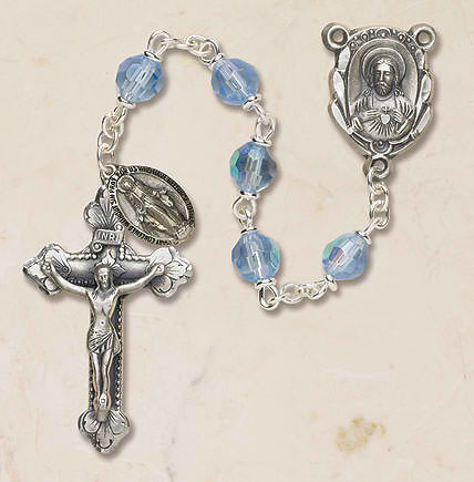 Prague Collection 6 mm AB Crystal Rosary - Cielo