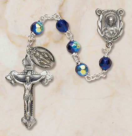 Prague Collection 6 mm AB Crystal Rosary - Sapphire