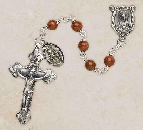 Genuine Goldstone Italian Semi-Precious Rosary