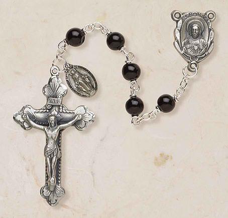 Genuine Onyx Italian Semi-Precious Rosary