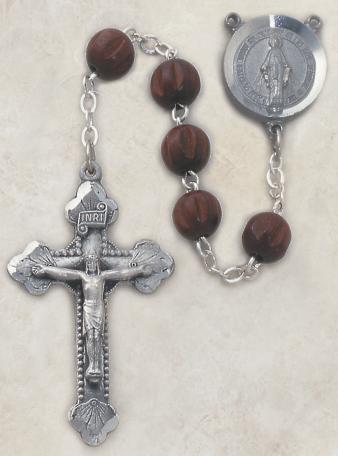 Mens Italian Dark Brown Wood Rosary Devotional Items