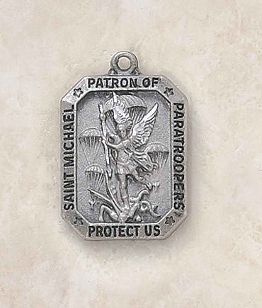 Sterling St. Michael Patron Saint  (Paratroopers) Medal