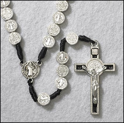 St. Benedict Cord Medal Rosary - 4/pk