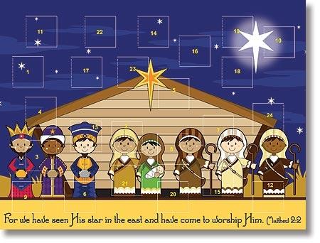 Kids Stable Nativity Advent Calendar - 12/pk