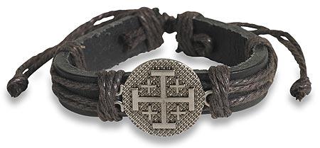 Jerusalem Cross Leather Bracelet - 12/pk