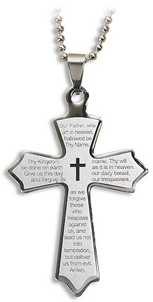 Our Father Laser Engraved Cross Pendant - 12/pk