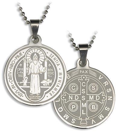 St Benedict Laser Engraved Pendant