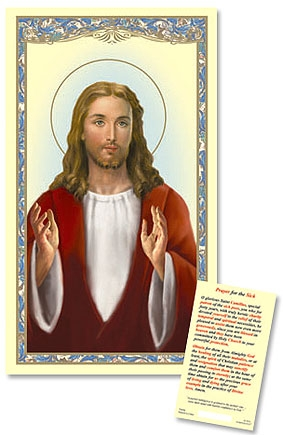 Blessing Christ Laminated Holy Card
