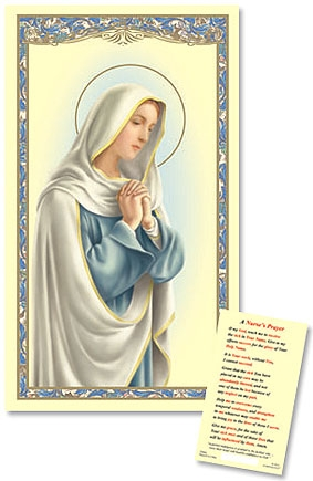 Our Lady in Prayer Laminated Holy Card