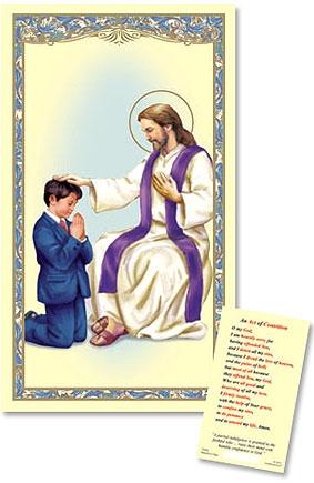 Reconciliation - Boy Laminated Holy Card - 25/PK