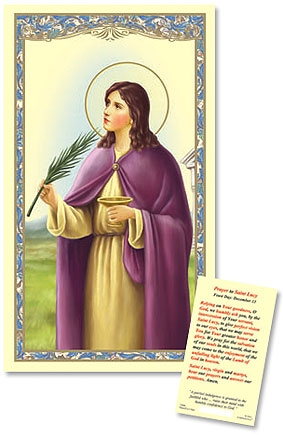 Saint Lucy Laminated Holy Card