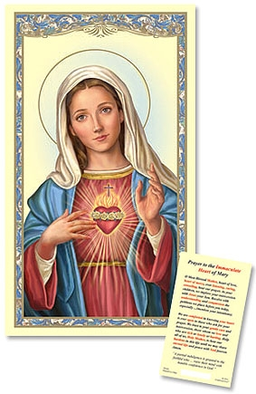 Immaculate Heart Laminated Holy Card