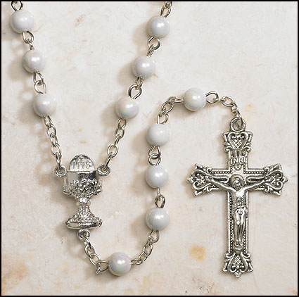 White First Communion Rosary - 12/pk