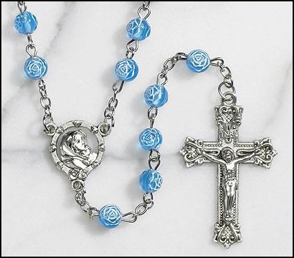 Blue Rosebud Rosary - 12/pk