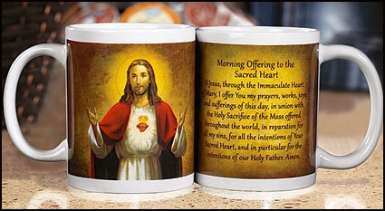 Sacred Heart Morning Offering Prayer Ceramic Mug