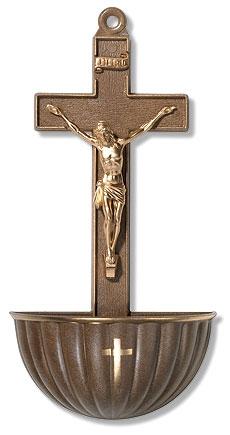 Bronze Crucifix Holy Water Font - 12/pk