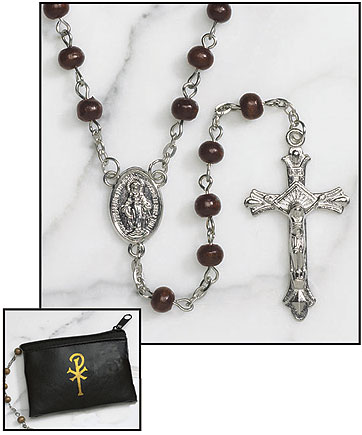 Brown Wood Rosary with Black Rosary Case - 12/pk