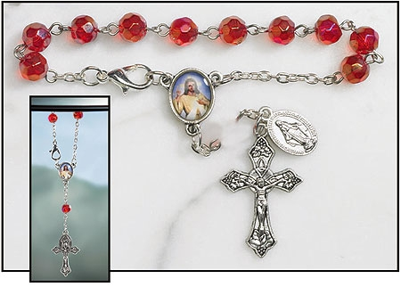 Divine Mercy Rearview Mirror Rosary  - 12/pk