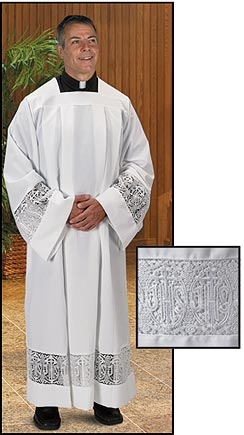 Latin Cross and IHS Lace Box Pleated Alb