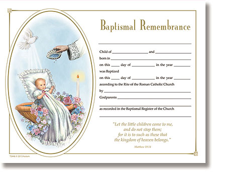 Baptism Certificate  Church Supplies