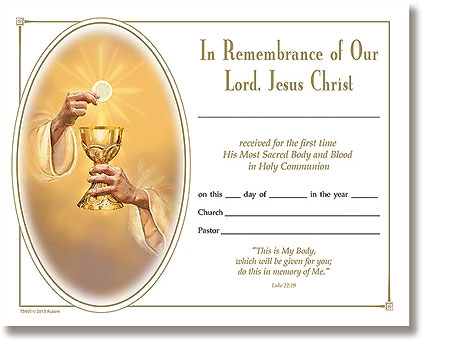 Eternal Salvation First Communion Certificate - 100/pk