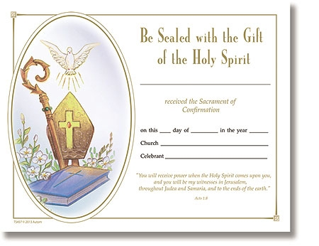 free catholic confirmation certificate template - confirmation certificate church supplies
