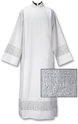 Latin Cross and IHS Lace Front Wrap Alb