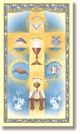 Seven Sacraments Holy Card - 100/pk