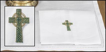 Green/Gold Celtic Cross Lavabo Towel