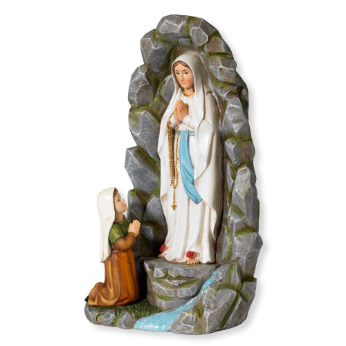 """8"""" Our Lady of Lourdes with St. Bernadette Grotto Statue"""