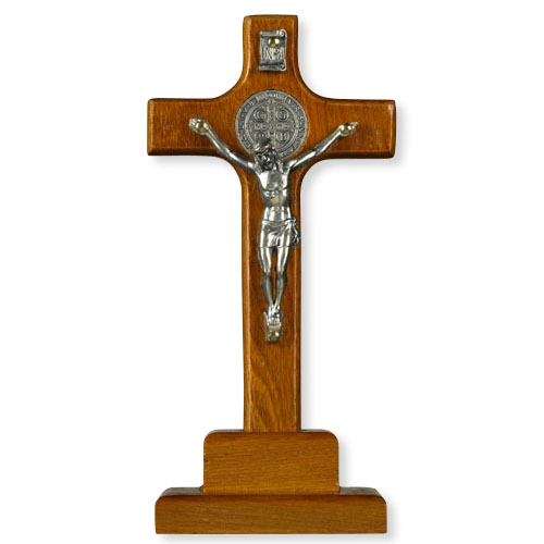 Standing Wooden St. Benedict Crucifix
