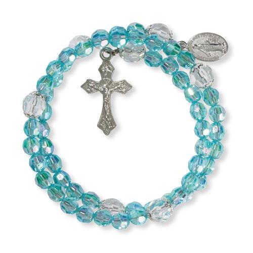 Aqua Acrylic Wrap Style Rosary Bracelet - 12/pk