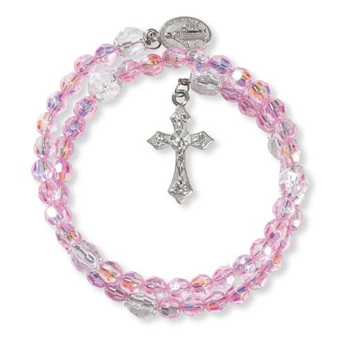 Pink Acrylic Wrap Style Rosary Bracelet - 12/pk