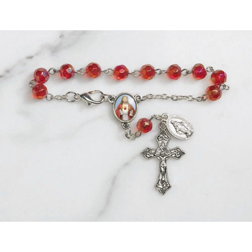 Sacred Heart Faceted Glass Auto Rosary - 12/pk
