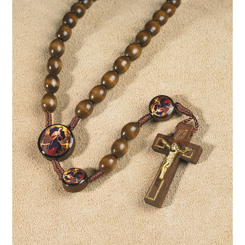 Mary Untier of Knots Devotional Wood Corded Rosary