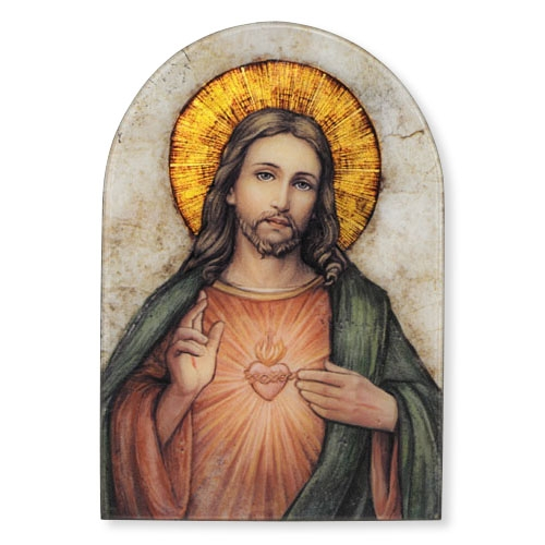 """Marco Sevelli 5"""" x 7"""" Arched Sacred Heart of Jesus Plaque"""