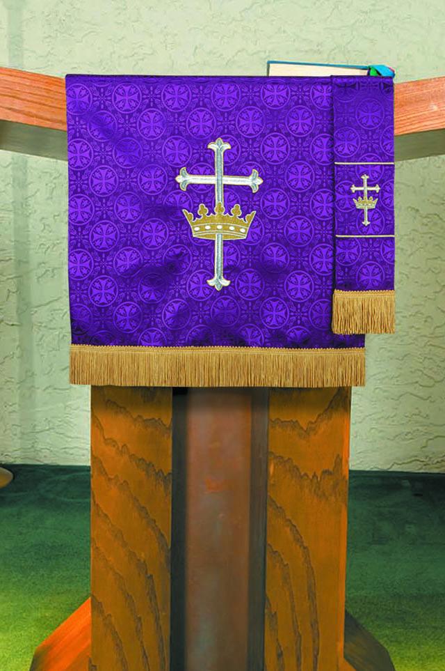 Maltese Jacquard  Custom Pulpit Scarf - Purple