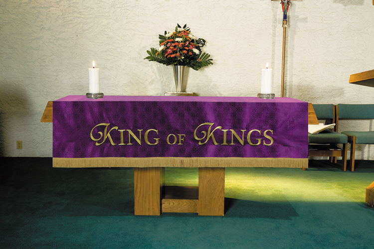 Maltese Jacquard Custom Altar Frontal - Purple